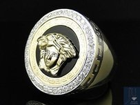 Mens 10k Yellow Gold Round Cut Pave Medusa Diamond Designer Fashion Ring 1.5 Ct