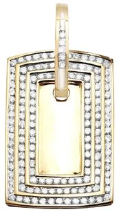 Mens 10k Yellow Gold Row Channel Genuine Diamond Dog Tag Charm Pendant 3ct