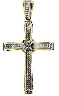 Mens 10k Yellow Gold Row Genuine Diamond Center Cross Charm Pendant 2.5 1ct