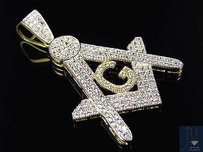 Mens 10k Yellow Gold Simulated Diamond Masonic Logo Emblem Charm Pendant 1.75