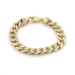 Mens 14k Yellow Gold 12mm Wide Curb Link Chain Bracelet 67 Grams 9 Long
