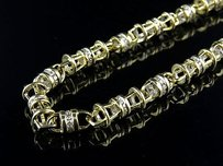 Mens 14k Yellow Gold Bullett Link Mm Real Diamond Chain Necklace Ct 30