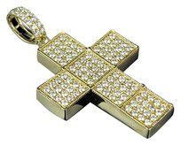 Other Mens 14k Yellow Gold Real Diamond Segmented Block Cross Pendant Charm 3.0ct 2