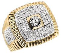 Other Mens 14k Yellow Gold Square Pave Genuine Diamond Presidential Pinky Ring 1.25 C