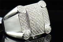 Mens .925 Sterling Silver Genuine Diamond Pinky Ring Square Big Face 0.42 Ct