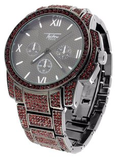 Other Mens Black Dial Watch Red Simulated Diamonds Iced Out Jojino Jojo Roman Display