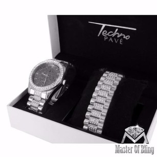 Mens Black Dial Watch Simulated Lab Diamonds White Gold Tone Bracelet Set