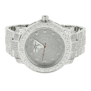 Mens Diamond Khronos Watch Stainless Steel Band Master Of Bling Analog Round