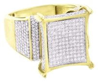 Other Mens Gold Finish Ring Sterling Silver Genuine Diamonds Pave Set Square Face Sale