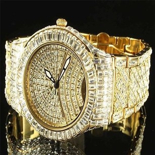Mens Gold Iced Out Watch Lab Simulated Diamond Band Hip Hop Bling Analog Glow