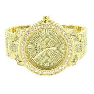 Mens Gold Tone Watch Diamond Khronos Full Iced Out Rapper Wear Roman Numeral