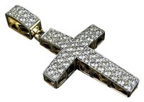 Mens Ladies 14k Yellow Gold Genuine Diamond Cross Charm Pendant 1.5 1.5 Ct