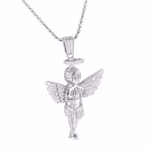 Other Mens Ladies Angel Pendant And Chain 925 Sterling Silver Halo Cherub