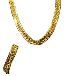 Mens Miami Cuban Link Chain And Bracelet Set Heavy Yellow Gold Stainless Steel
