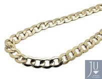 Mens Real 10k Yellow Gold Hollow Curb Cuban Link Chain Necklace 10mm 24-36 Inch