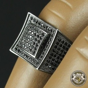 Mens Real Round Cut Lab Diamond 14k Black Gold On Silver Square Ring Band Pinky