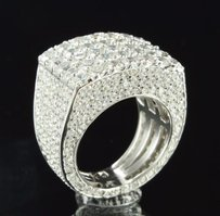 Mens Ring Fully Iced Out 925 Silver Custom Lab Diamond Icy White Gold Finish