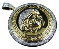 Mens Solid 10k Yellow Gold Medusa Diamond Pendant Charm Medallion 1.75 1.9 Ct