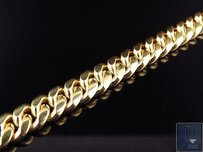 Mens Solid 10k Yellow Gold Miami Cuban Link Inch Bracelet 9mm