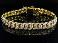 Mens Solid 10k Yellow Gold Miami Cuban Link Mm Diamond Bracelet Ct