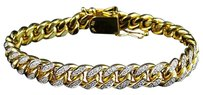 Other Mens Solid 10k Yellow Gold Miami Cuban Link Mm Diamond Bracelet Ct