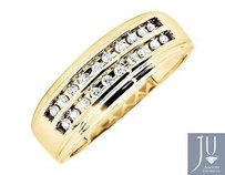Mens Solid 10k Yellow Gold Rows Round Cut Diamond Wedding Ring Band 0.25ct