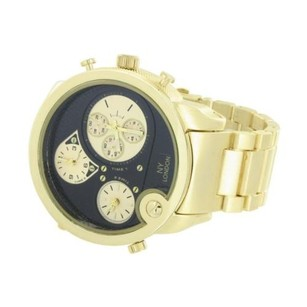 Mens Timezone Gold Tone Ny London Black Dial Metal Band Stainless Steel Back