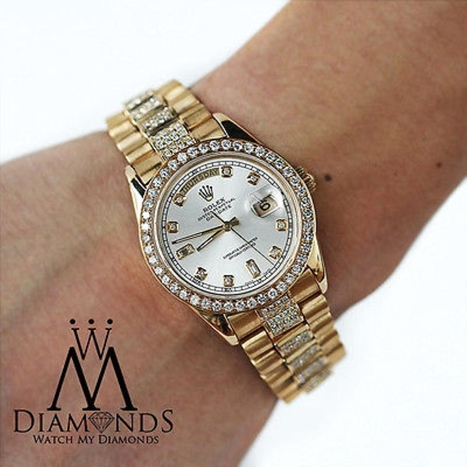 mens used rolex president 18k gold day date 18038 diamond bracelet mens used rolex president 18k gold day date 18038 diamond bracelet dial bezel