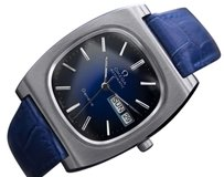 Mens Vintage Swiss Omega Geneve Day Date Automatic Blue Dial 1323