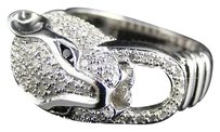 Other Mens Womens White Gold Finish Diamond Panther Desinger Fashion Pinky Ring 1 Ct