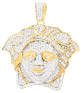 Other Mens Yellow Sterling Silver 3d Medusa Face Iced Out Lab Diamond Tone Pendant