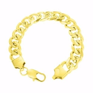 Other Miami Cuban Bracelet 14k Gold Finish Stainless Steel Mm Solid Lobster Lock