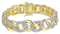 Other Miami Cuban Style Bracelet 14k Gold Over 925 Sterling Silver 1.0 Ct Lab Diamond