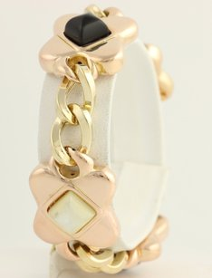 Mother Of Pearl Onyx Link Bracelet 12 - 14k Yellow Rose Gold Womens