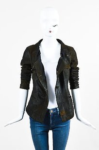 Olive Distressed Leather Motorcycle Jacket