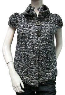 Other Manyus Stand Up Collar Cap Sleeve Boucle Woven Vest