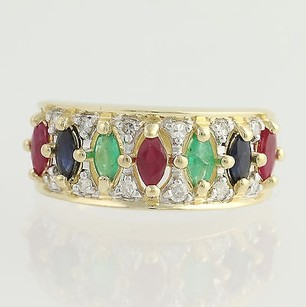 Multi-gemstone Ring - 14k Yellow White Gold Rubies Genuine 1.38ctw