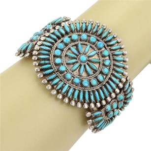 Other Najavo Zuni Native Indian Sterling Turquoise Floral Medallion Bangle Cuff