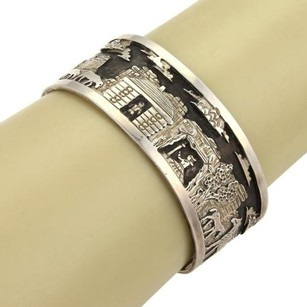Native Indian Ch Sterling Silver Carved Village Scene Cuff Bracelet