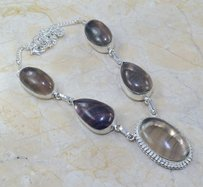 Natural Fluorite Y Silver Necklace Free Shipping