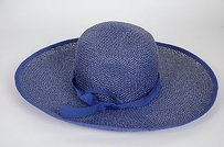 Navy Paper Straw Wide Brim Beach Hat Ribbon Foldable Packable Jeanne Simmons