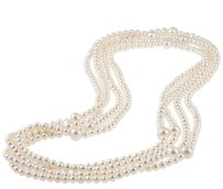 100 5-5.5 Mm 9-10 Mm White Freshwater Endless Pearl Beauty Necklace Grade Aa