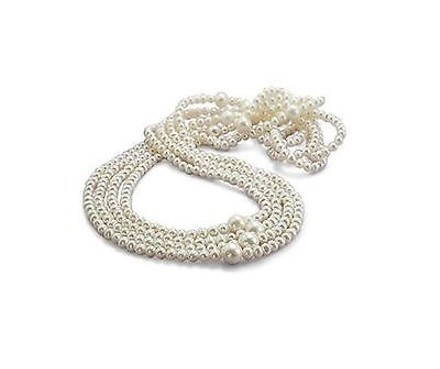 Other 100 5-5.5 Mm 9-10 Mm White Freshwater Endless Pearl Beauty Necklace Grade Aa