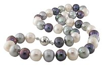 Other 18 9-10 Mm Freshwater Multi Color Black Grey White Pearl Necklace Silver Clasp