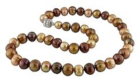 Other 17 9.5-10 Mm Multi Brown Freshwater Pearl Necklace Wsilver Magnetic Clasp
