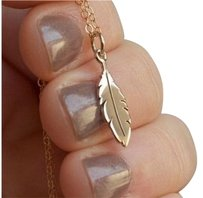 Other SALE - New Feather Necklace - Gold Feather Charm 14K Gold-Filled Chain