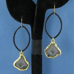 Other Nina Nguyen Audrey Earrings Dark Gray Geode Drops 925 Silver 22k Yg