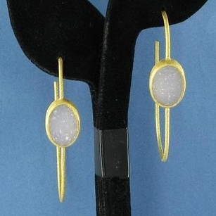 Nina Nguyen Cepheid Earrings Gray Druzy Sterling Silver 22k Yg