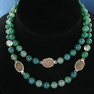 Nina Nguyen Double Green Agate Bead Necklace Sand Druzy 925 Silver
