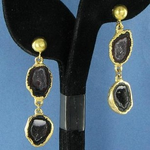 Nina Nguyen Infinity Earrings Black White Geode Drops 925 22k Yg